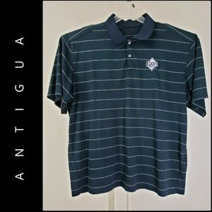 Antigua Men Stripe Tampa Bay Ray Logo Polo Shirt